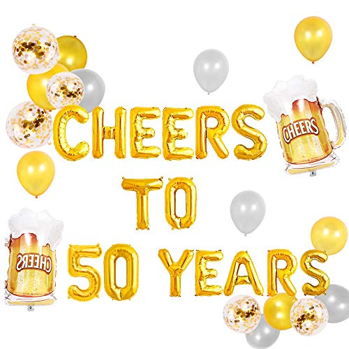 JeVenis Set von 18 Cheers to 50 Years Balloons Cheers to 50 Years Banner Cheers & Beers to 50 Years Banner 50. Geburtstagsfeier 50. Geburtstag 50. Geburtstag Zeichen 50. Geburtstag Dekor (Geburtstag Zeichen 50)
