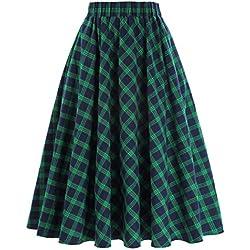 Las mujeres plisaron la tela escocesa A-line de la falda del cóctel del vintage Tamaño M KK0633-1