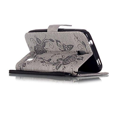 Huawei P9 Lite Y625 Case,schmetterling Prägung Blume Fall Decken Mit Flip Stand Funktion Und Credit Card Slots Pu - Leder - Fall Für Huawei P9 Lite Y625 ( Color : Gray , Size : HUAWEI P9 LITE ) Gray