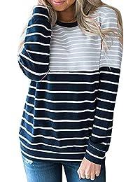 2e17f5bf8a35d LANDF-OX Tops Blancas Camisas Vestidos Mujer Camiseta bluson Chica Otoño  Invierno Raya Ocasional de Las Mujeres Manga Larga o…