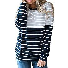 BBestseller Sweatshirt Hoodies Mujeres otoño Slim Fit Suéter de Manga Larga con Estampado de Rayas Pullover