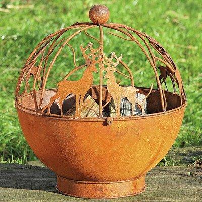 Bol para fuego Brasero Exterior Jardin en hierro oxidado Modelo Berna con Ciervos Renos Altura 55cm