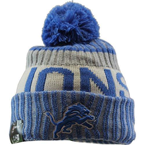 New Era Detroit Lions Bommelmütze - NFL Sideline - Blau, Blau, Einheitsgröße