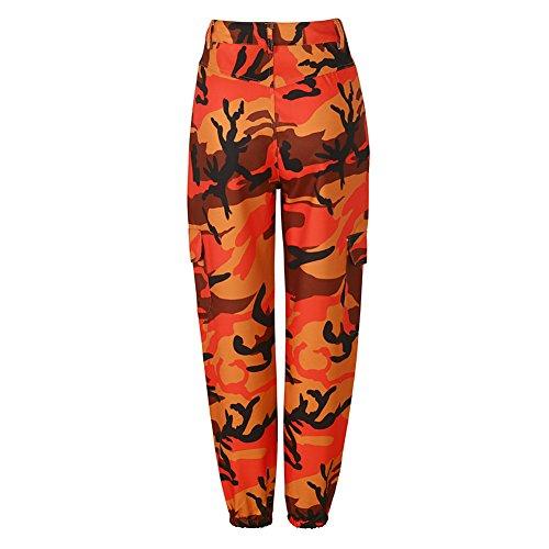 Pantaloni Harem Camouflage Juleya Pantaloni sportivi da donna Pantaloni mimetici Pantaloni cargo Arancia