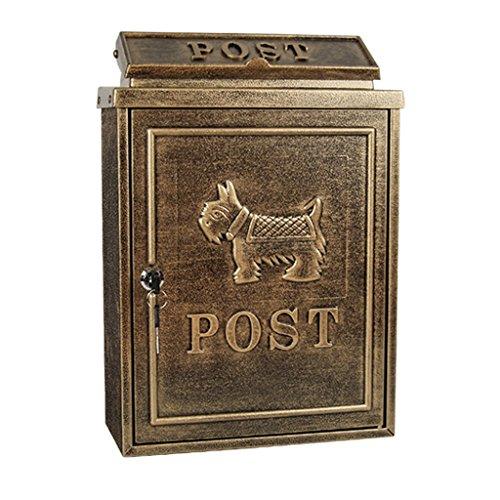 HZH Antike Welpen Muster Eisen Villa Bronze Mailbox Outdoor Regen Beweis Wandbehang Briefkasten Retro Bring Lock Postbox