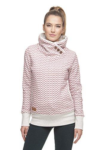 Ragwear Sweater Damen Angel Zig ZAG 1821-30007 Beige Rot Red 4000, Größe:S