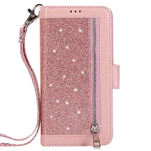 TechCode S9+ Galaxy Handy Schutzhülle, Premium Wallet Case mit Kickstand Reißverschluss Geldbörse Bling Tragetasche für Galaxy S9+ 6,2'', Rose Gold (Galaxy Ii Handy-fällen)