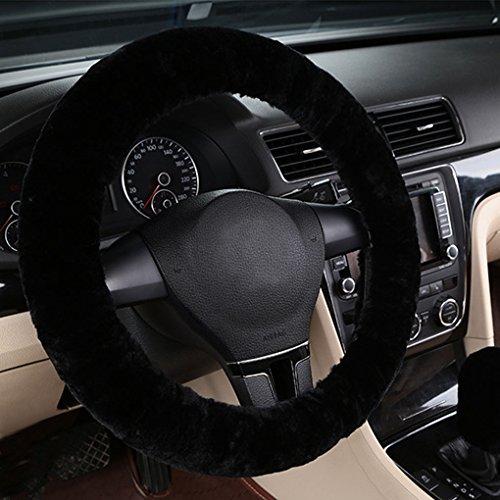 Dicke Lenkradhülle Auto Plüsch kurz warme Lenkradabdeckung Winter Universal Lenkradbezug rutschfest atmungsaktiv Lenkrad Abdeckung anti-Rutsch Lenkradschutz weich bequem steering wheel cover (Abdeckung Wärme Lenkrad)