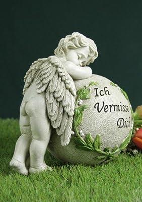 """Grabengel an Kugel gelehnt """"Ich vermisse Dich"""" von friedhofskerze.de auf Du und dein Garten"""