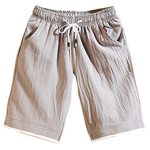 GreatestPAK Sommer Herren Kurze Hosen Jogginghosen Fitnesshosen Leinen Strandhosen Lose Lässig Shorts,Grau,EU:L(Tag:2XL)
