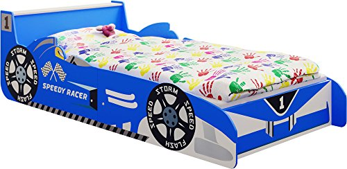 "IB-Style - Juniorbett Kinderbett \""Speedy Racer\"" 140 x 70 cm Blau"