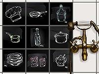 Fliesenmuster Deko-Folie Fliesen - CREATISTO Fliesensticker Fliesenfolie | Sticker Aufkleber Klebefolie Fliesen Küche Deko Wandfliesen Klebefliesen | 20x20 cm - Motiv Kochspaß - 9 Stück