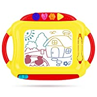 Peradix Doodle Magnetic Drawing Board Sketch Tablet Education Writing Drawing Painting Colorful Erasable Toy for Toddler Kids (Red&Yellow)