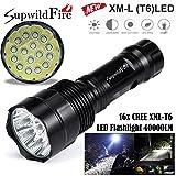 LED Taschenlampe 40000 Lumens aufladbar, 5 Modi 16x XM-L T6 LED Taschenlampe By huichang