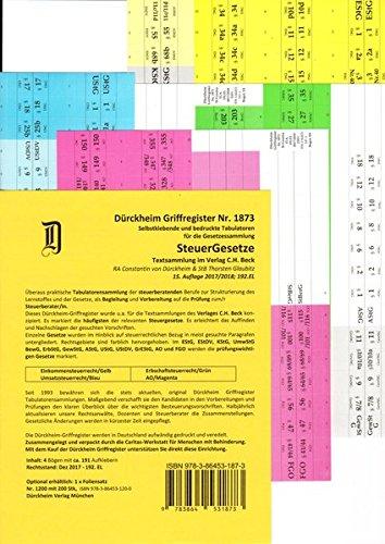 STEUERGESETZE Dürckheim-Griffregister Nr. 1873 (2018/192.EL): 191 selbstklebende und farbig bedruckte Griffregister für die Steuergesetze. Für C.H. Beck Verlag oder nwb-Textsammlungen