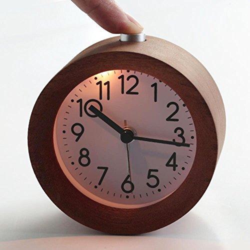 Sayou® sveglia in legno capezzale sveglia orologio da tavolo con luce (Style 2)