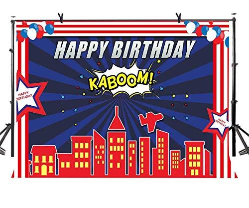 EdCott 7x5ft Happy Birthday Hintergrund Dunkelblau Stadt Nächte Fotografie Hintergrund Kinder Jungen Geburtstag Themen Party Foto Video Requisiten LYZY0216