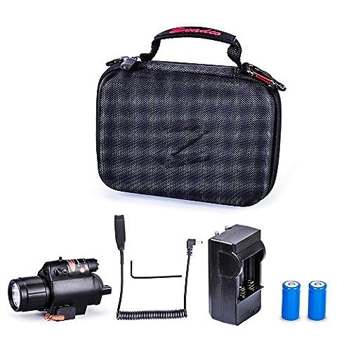 Zeadio lampe de poche LED et visée de Point rouge, Composition de 2-en-1 avec Chargeur, Deux Batteries rechargeable et boîte à fermeture éclair
