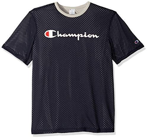 Champion Herren Reversible Mesh Tee T-Shirt, Navy/Oxford Grey, Klein - Jersey Tee Oxford