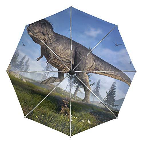 Lenenl Dinosaurier Closeup Winddichter Reise-Regenschirm Automatisch Öffnen Schließen Leicht Kompakter UV-Schutz Regenschirm