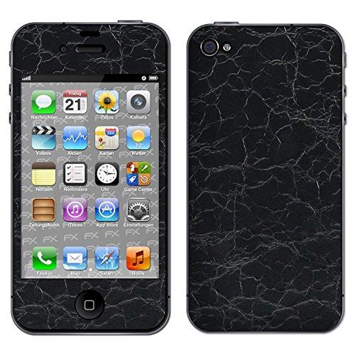 "Skin Apple iPhone 4 / 4s ""FX-Brushed-Black"" Designfolie Sticker FX-Rugged-Leather-Black"