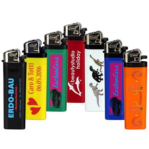 Druckspezialist 50 Feuerzeuge Reibrad beidseitig mit Fotodruck 4-farbig von Ihrer Datei Logo Werbung 10-2000 Stück