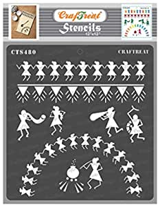 Craftreat Warli Art Stencils for Craft - Warli - 12X12 Inches - Reusable DIY Stencils for Painting on Canvas - Warli Stencils for Wall Painting - Warli Stencil