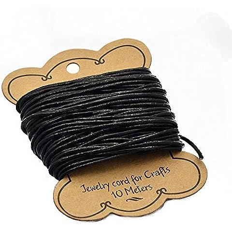 PandaHall-Cordón de cuero piel de vaca, cuero de la joyería de la cuerda para la pulsera y la collar, Negro, Tamaño: alrededor de 2 mm de