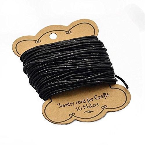 PandaHall Cordon en cuir de vachette pour bracelet et collier, 2 mm de diamètre environ - Noir 2mm