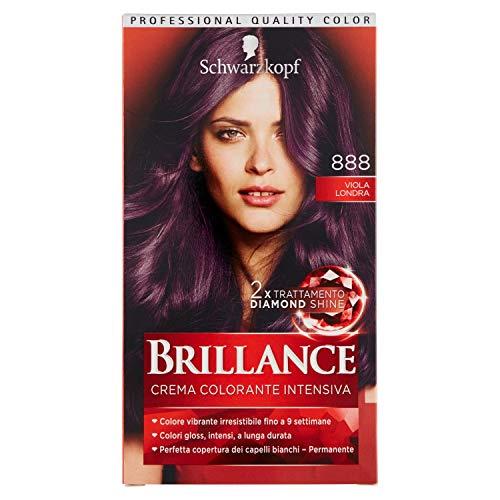 Schwarzkopf, Brillance, Crema Colorante Intensiva Permanente, 888 Londra Viola Rosso