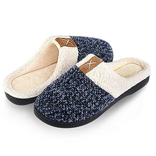 men Herren Wärme Plüsch Bequem Pantoffeln Memory Foam rutschfeste Home Leichte Slippers für Drinnen und Draußen(Blau.SZ,42/43 EU) ()