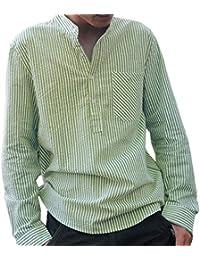 e066c62460125 Camisa a Rayas para Hombre - Moda Manga Larga Cuello Mao Regular Fit Shirt  Hombres Básica