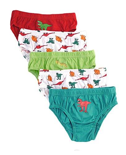 Nuovo Bambino 100% cotone pantaloni Slip confezione da 5 Dinosaur 7-8 (7 Boxer Brief Underwear)