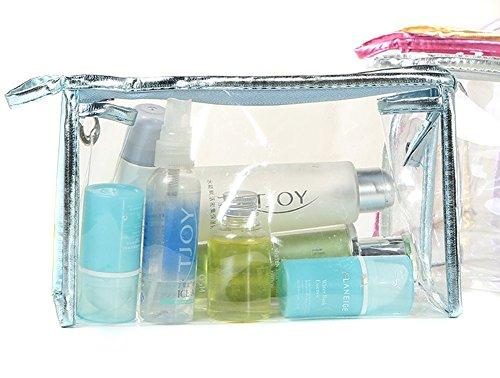 Sac Maquillage Cosmétique Imperméable Transparent Trousse de Toilette PVC Bleu