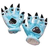 lifenewbaby franela guantes suave Cartoon Animal Paw, niños/adultos Anime Cosplay accesorios, azul oscuro, talla única