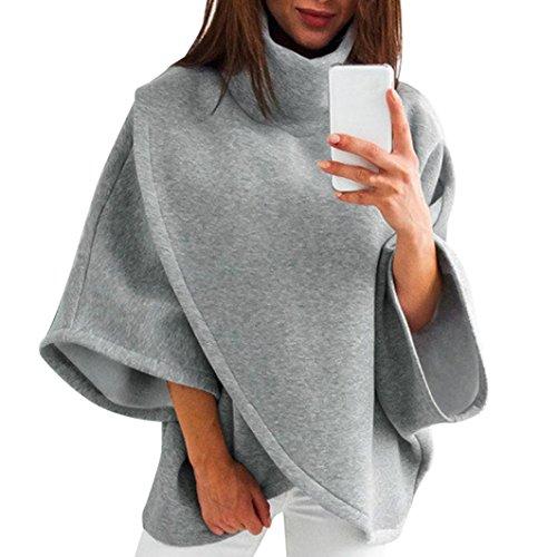 Poncho Damen, DoraMe Frauen 3/4 Ärmel Pullover Lässig Feste Farbe Bluse Hoher Kragen Stehen SweatshIrt Winter Warme Hemd (Grau, XL) (Farbe Diagramm Shorts)
