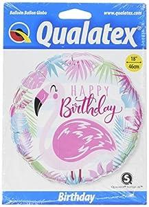 Qualatex 57274 - Globo redondo de cumpleaños con diseño de flamencos, color rosa, 45,7 cm