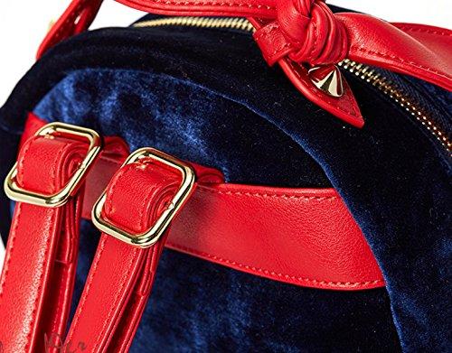 Damen Rucksäcke Taschen Handtaschen Herbst Bowknot Süße Casual Rucksack Samt Handtaschen DarkBlueTemperament