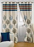 "Story@Home Eyelet Fancy Jacquard 1 Piece Door Ringtop Curtain Set- 46 "" X 84 "", 7 feet, Green"