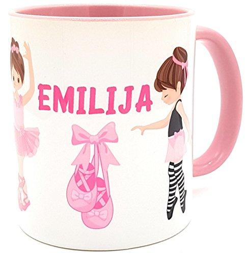 Kilala Tasse Ballerina Ballett - personalisierte Kindertasse mit Name Kindertasse, Geschenk, Tänzerin, Tanzschule, rosa