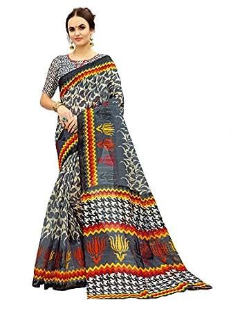 Glory Sarees Women's Bhagalpuri Art Silk Saree(gloryart10_grey)