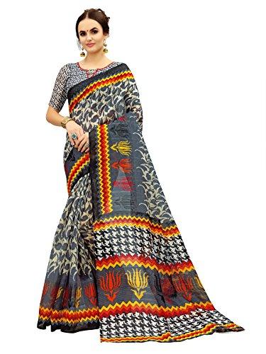 Glory Sarees Women\'s Bhagalpuri Art Silk Saree(gloryart10_grey)
