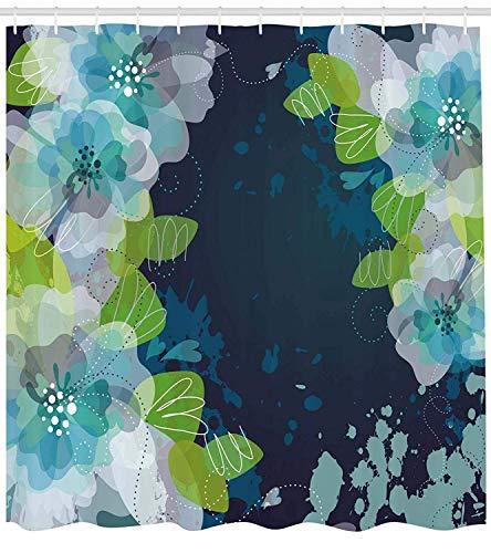 AdaCrazy skizzenhaften abstrakten Blüten Blumen mit Blättern auf Grunge Hintergrund Marine Duschvorhang Stoff Badezimmer Dekor Set mit Haken Marineblau Hellgrün und Weiß -