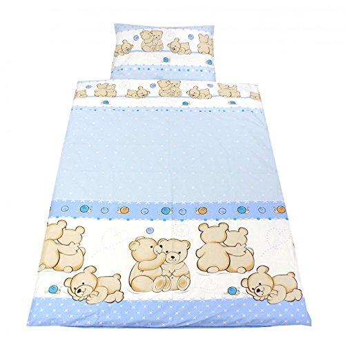 TupTam Kinderbettwäsche Set Gemustert 2 teilig, Farbe: Bärchen Freunde Blau, Größe: 135x100 cm