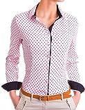 Damen Figurbetonte langarm Bluse Business Hemd tailliert mit Punkten ( 533 ), Farbe:Rosa, Größe:Medium