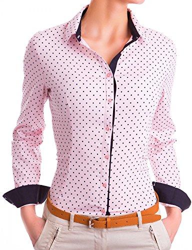 Danaest Damen Figurbetonte Langarm Bluse Business Hemd Tailliert mit Punkten (533), Farbe:Rosa, Größe:Medium
