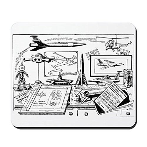 CafePress – Tom Swift Junior Zeichenbrett, Anti Rutsch – Gummi Mauspad, Gaming Maus Pad