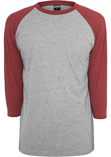 URBAN CLASSICS - Contrast 3/4 Sleeve Raglan Tee (grey-ruby), Gr. M (Top 3/4 Sleeve Red)
