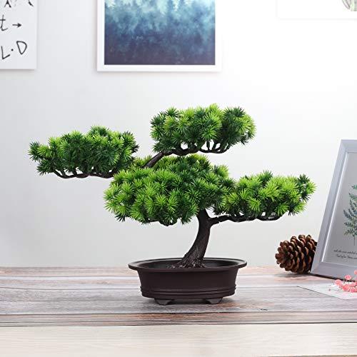 jianbo Kunstpflanze Pflanze,Japanischer Feng Shui Pinien ,Feng Shui Lucky Deko,Kunstbaum ,Höhe ca. 20 cm ,GrüN, #39 - 2