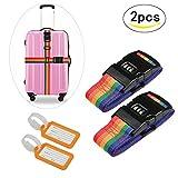 2pcs correas de equipaje LANMOK de bloqueo de contraseña de color iris de correa TSA cinturón de maleta para reconocer fácil el equipaje